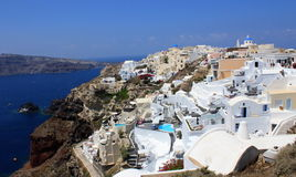 Oia and Santorini Caldera. Panoramic view of Oia with the volcano caldera on the left Stock Images