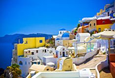 Oia at Santorini. Colorful village of Oia at Santorini island in Greece Stock Photos