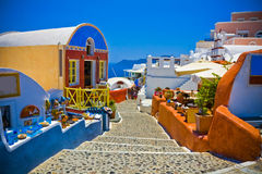 Oia at Santorini. Colorful village of Oia at Santorini island in Greece Stock Images