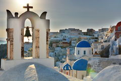 Oia, Santorini, Cyclades islands. Greece. Santorini  is an island in the southern Aegean Sea. It forms the southernmost member of the Cyclades group of islands Stock Photos