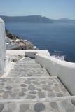 Oia Santorini Greece. Steps, landscape panorama and sea in Oia Santorini Greece Stock Photos