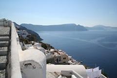 Oia Santorini Greece. Steps, landscape panorama and sea in Oia Santorini Greece Stock Image