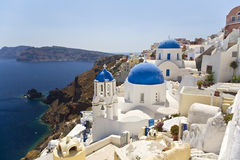 Oia, Santorini, Greece. Oia is a village built along a cliff-top. On the greek island called Santorini on the northern tip Stock Photography