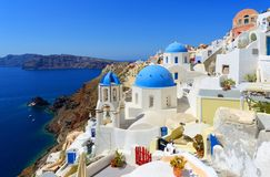 Oia Santorini Greece. Colorful Oia village in Santorini Greece Stock Photography