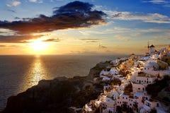 Oia, Santorini. Greece. Cyclades Islands - Santorini (Thira). Oia town before sunset stock photography