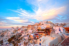 Oia Santorini. Greece famous with beautiful romantic sunsets Stock Photo