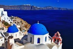 Oia,Santorini, Greece. Famous domes of Oia,Santorini, Greece stock images