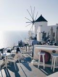Oia Santorini hav sikt Arkivfoto