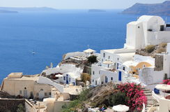 Oia on Santorini Island. The Cyclades, Greece. Oia or Ia is a small town and former community in the South Aegean on the islands of Thira Santorini and Therasia Royalty Free Stock Images