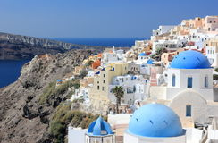 Oia on Santorini Island. The Cyclades, Greece. Oia or Ia is a small town and former community in the South Aegean on the islands of Thira Santorini and Therasia Royalty Free Stock Photo