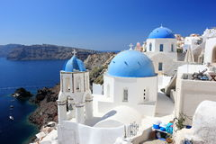 Oia on Santorini Island. The Cyclades, Greece. Oia or Ia is a small town and former community in the South Aegean on the islands of Thira Santorini and Therasia Stock Photos