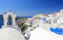 Oia on Santorini Island. The Cyclades, Greece. Oia or Ia is a small town and former community in the South Aegean on the islands of Thira Santorini and Therasia Royalty Free Stock Image