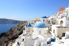 Oia on Santorini Island. The Cyclades, Greece. Oia or Ia is a small town and former community in the South Aegean on the islands of Thira Santorini and Therasia Royalty Free Stock Photos