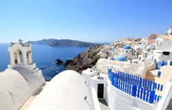 Oia on Santorini Island. The Cyclades, Greece. Oia or Ia is a small town and former community in the South Aegean on the islands of Thira Santorini and Therasia Stock Image