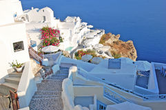 Oia, Santorini island, Greece hotel. Santorini island, Greece Mediterranean Hotel view Royalty Free Stock Photo