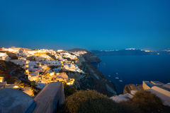 Oia on Santorini island at night Royalty Free Stock Photography