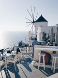 Oia, Santorini morze widok Zdjęcie Stock