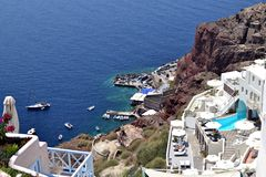 Oia Santorini. Photo taken from Oia Village in Santorini with the view of the Port royalty free stock photos