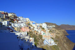 Oia,Santorini. Picture taken at Oia,Santorini,Greece-amazing,heavenly place.This azure blue sea and sky and the dazzling white houses were things that most Stock Photo