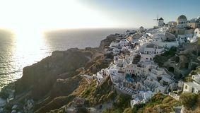 Oia Santorini. Sun setting down over Oia, Santorini Stock Photo