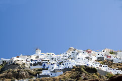 Oia santorini town built into volcanic cliffs Royalty Free Stock Photography