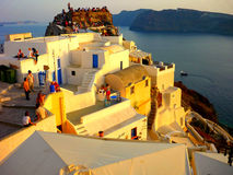 Oia. Is a small town and former community in the South Aegean on the islands of Thira and Therasia, in the Cyclades, Greece stock photo