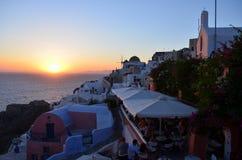 Oia-Sonnenuntergang Stockbild