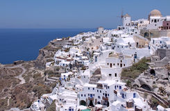 Oia stad av Santorini Arkivfoton