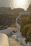 Oia stad op Santorini-eiland Stock Foto's
