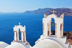 Oia stad op Santorini-eiland, Griekenland Stock Foto's
