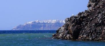 Oia stad på den Santorini ön Arkivfoto