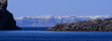 Oia-Stadt auf Santorini-Insel Stockfotografie