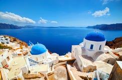Oia-Stadt auf Santorini-Insel, Griechenland Ägäisches Meer Lizenzfreies Stockbild