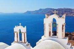 Oia-Stadt auf Santorini-Insel, Griechenland Stockfotos