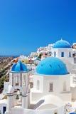 Oia-Stadt auf Santorini-Insel, Griechenland Lizenzfreies Stockfoto