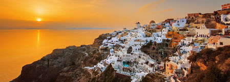 Oia at sunset, panoramic view Stock Images