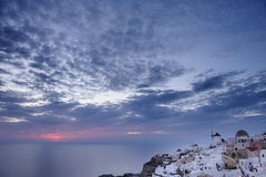 Oia after sunset at Santorini, Greece Stock Images