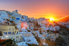 Oia at sunset, Santorini, Greece Stock Images