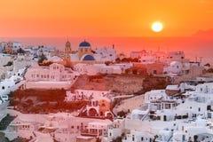 Oia at sunset, Santorini, Greece Royalty Free Stock Photos