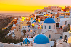 Oia at sunset, Santorini, Greece Royalty Free Stock Photography