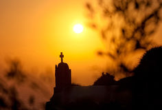 Oia at sunset stock photography