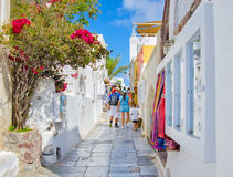 OIA, THIRA, GREECE. OIA, SANTORINI, GREECE - SEP 10-2016:  Oia is a scenic white town on the north west edge of the Santorini island, popular tourists Stock Photos