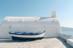 Oia town boat in Santorini island, Greece stock photo