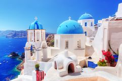 Oia town on Santorini island, Greece. Aegean sea Stock Images