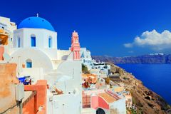 Oia town on Santorini island, Greece. Aegean sea Royalty Free Stock Images