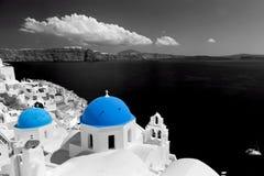 Oia town on Santorini island, Greece. Blue dome church Stock Images