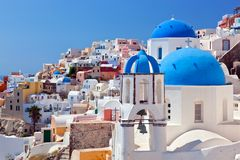 Oia town on Santorini island, Greece. Caldera on Aegean sea. Stock Photo