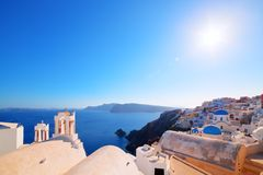 Oia town on Santorini island, Greece. Caldera on Aegean sea. Royalty Free Stock Photography