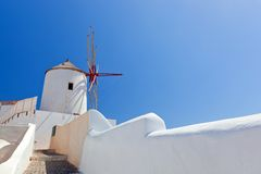 Oia town on Santorini island, Greece.  Famous windmills Stock Image