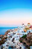 Oia Town on Santorini Island, Greece. Sunrise Royalty Free Stock Image